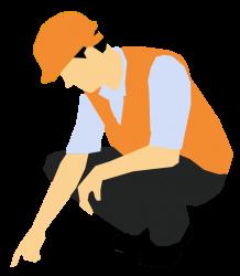 Robotník ukazujúci prstom na zem Stavebný dozor Levice cena